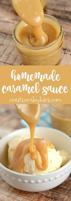 Homemade Caramel Sauce - Copycat Leatherby's caramel ice cream sauce. This rich and creamy caramel sauce is incredible! from creationsbykara.com