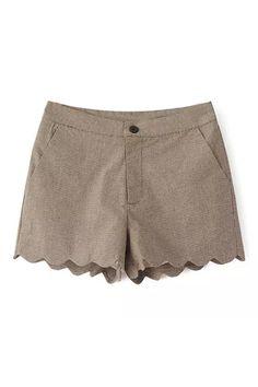 ROMWE | ROMWE Wave Hem Houndstooth Print Khaki Shorts, The Latest Street Fashion