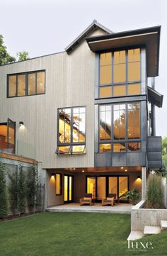 Contemporary Neutral Exterior with Walk-out Basement Patio