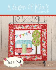 A season of mini's summer paper pattern by This & That. This vintage camper mini quilt pattern is so adorable! See my other listings for mini paper pattern! Hanging Quilts, Quilted Wall Hangings, Small Quilts, Mini Quilts, Scrappy Quilts, Quilting Projects, Sewing Projects, Quilting Ideas, Sewing Ideas