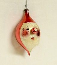 vintage hand blown glass christmas ornaments - 1940's santa