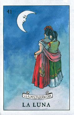 La Luna Lesbian Loteria Mexican Female Latino Drawing Queer Art Ladies in love sharing the moon Felix d'Eon - Large Print Mexican Artwork, Mexican Folk Art, Lesbian Art, Gay Art, Arte Latina, Loteria Cards, Latino Art, Queer Art, Chicano Art