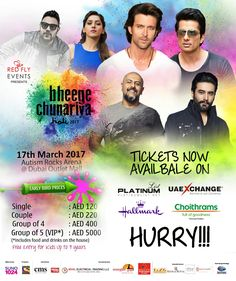 Sold!! Sold!! Sold!!#BheegeChunariya60% Tickets Sold. Early Bird Discount ends on 10th March!  Book your tickets now to win lucky chance to Meet & Greet the Superstars:https://goo.gl/EhU0zP  Are you ready to experience Dubai's Biggest Bollywood Holi Celebration ever?? March 17 in Dubai @ Autism Rocks Arena, Dubai Outlet Mall...Stay tuned for more updates…