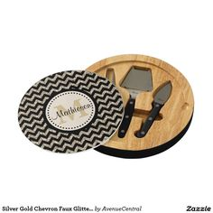 Silver Gold Chevron Faux Glitter Monogram Cheese Platter
