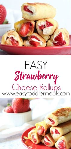 That's breakfast sorted! Pair these delicious strawberry cheese rollups with an applesauce dip and let your toddler go to town! They're easy finger food, quick to make and only include 4 ingredients - just perfect for the weekend Breakfast Finger Foods, Toddler Finger Foods, Easy Toddler Meals, Quick Easy Meals, Kids Meals, Baby Finger, Toddler Lunches, Toddler Food, Easy Finger Food
