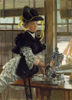 James Tissot - Tea [1872] on Flickr.  When Tissot moved to London in 1871, he immersed himself in the local scene, with work for Vanity Fair and genre paintings with the river Thames as backdrop. Tea is a repetition of the left-hand portion of one of his most famous London scenes, Bad News (National Museum of Wales, Cardiff), which shows a captain and his girlfriend absorbing the news of his imminent departure while a companion prepares tea. Bad News shows the Pool of London through