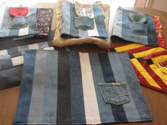 Placements from recycled jean material
