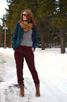 teal blazer + black and white sweater + mustard scarf + burgundy harem pant + brown boots bornlippy // winter outfit