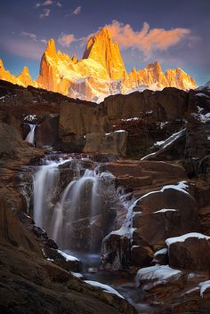 Hidden Falls by Michael Anderson Beyond the trail to Fitzroy Basecamp, Argentine Patagonia.By AndersonImages Michael Anderson Places Around The World, Oh The Places You'll Go, Places To Travel, Places To Visit, Around The Worlds, Beautiful Waterfalls, Beautiful Landscapes, Beautiful World, Beautiful Places