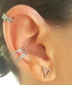 Love it?  Pin it!  Gorgeous Single Full-Row Diamond & 14K Gold Ear Cuff paired perfectly with from Double Row Mini and regular cuffs along with a Diamond Triangle Stud.  Available now from The EarStylist by Jo Nayor.  www,EarStylist.com