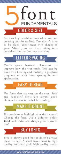 5 fundamentos sobre Fuentes Source: www.photocardboutique.com #infografia #infographic #design