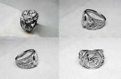 White gold signet ring monogram KS