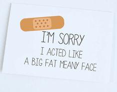 Sorry Card, Apology Card, Funny Sorry Card, Funny Cute Apology Card