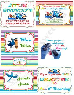 Parrot/Rio Birthday Party Pack by HowSweetbyhhassman on Etsy, $25.00