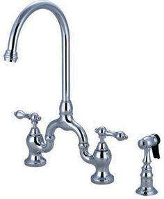 """Modern Style 8"""" Wide Spread Bridge Kitchen Faucet w.Brass Side Sprayer, Chrome #KingstonBrass"""