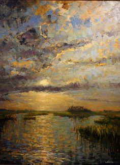 """High Tide Sunset"" by Kevin LePrince, contemporary Chareston, SC artist (Lowcountry art)"