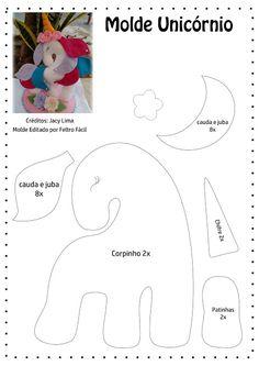 Risultati immagini per molde unicornio em feltro Stuffed Animals, Stuffed Animal Patterns, Sewing Toys, Sewing Crafts, Sewing Projects, Unicorn Birthday Parties, Unicorn Party, Felt Patterns, Sewing Patterns