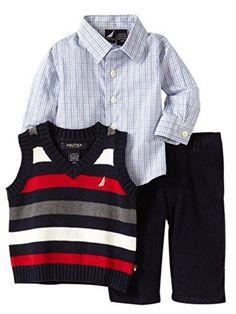 Nautica Infant Boys Dress Up Outfit Corduroy Pants Stripe Vest Shirt 612m -- Visit the image link more details. Note:It is affiliate link to Amazon.