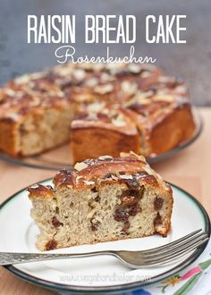 Raisin Bread Cake {Rosenkuchen} a delicous yeasted cake inspired by travels to Switzerland.