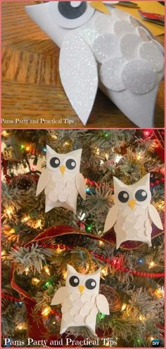 DIY TP Roll Snow Owl Tutorial - Paper Roll Christmas Craft Ideas & Projects