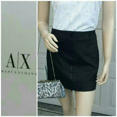"NWT Armani Exchange Skirt - 🎉HP @prettydonna This skirt sits on the hips (15 "" across). The bottom across is 18"" and it's 14.5"" long. Silver metal detail on the right belt loop. Black zipper zips up and down. Decorative zig zag stitch adds more interest. Very heavy material. Perfect condition with tags. Armani Exchange Skirts Mini"