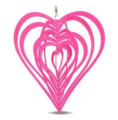 Metal Hanging Garden Wind Spinner Pink Heart Steel Garden or Home Ornament