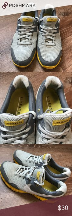 Rare Nike Livestrong Gray and Yellow Running Shoes Great condition, make an offer! Nike Shoes Sneakers