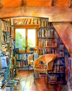 Architectural Perspective - Watercolour illustration Bookshop Interior