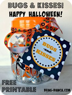 Easy Halloween treat!  Bugs and Kisses printable tag paired with Hershey kisses and fake spiders is a darling surprise gift!  Free printable!