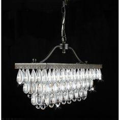Crystal Glass Drop 3-Light Antique Copper Chandelier - Overstock Shopping - Great Deals on Otis Designs Chandeliers & Pendants