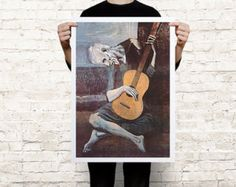 "Pablo Picasso's ""The Old Guitarist"" wall art canvas - paper poster"