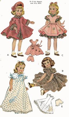 Doll Clothes Pattern 1717 - 18 inch Maggie Alice Wendy Kathy Annabelle Rosamund by Alexander Cat Hat Nightgown Pinafore Panties Slip Dress