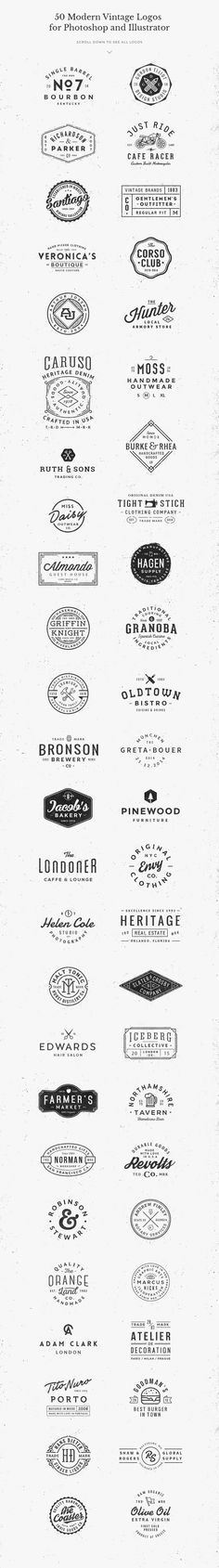 With this bundle you have a chance to get yourself all 5 logo templates packs and save over 50% off their regular price ($60). That's 50 vector logo templates that you can use for branding projects, labels, apparel design, typography pieces and more. They're all fully editable with only free fonts included!: