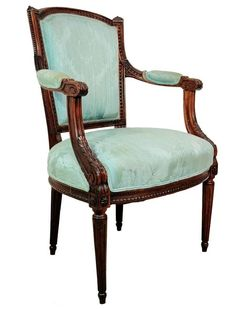 Antique French Louis XVI Style Carved Wood Fire Side Arm Chair Jansen Style Vtg
