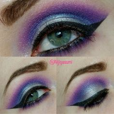 This video tutorial uses one palette to create a colorful smokey look. Create this eye makeup with different shades of violet eye shadow to give more dimension.