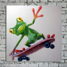 ► Item Detail    1) Product: Pop Art Animal Funny Art Frog With Skateboard  2) Size and Price:   20x 20 (Unframed)* - $ 59   24x 24 (Unframed)* - $