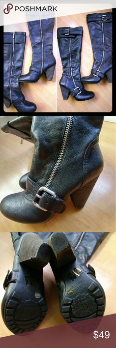 Vince Camuto Black Knee High Leather Boots SZ 7.5 Gorgeous buttery soft leather knee high boots with silver buckle detail in size 7.5. Boots feature a 4 inch cone heel and leather part measures 16 inches. Boots are in excellent pre-owned condition. No flaws on leather, heels have some minor scuffing, soles look great. Thanks 🌸 Vince Camuto Shoes Heeled Boots