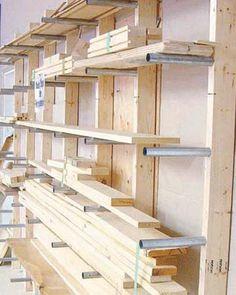 Lumber and Sheet Storage Rack Plans - Workshop Solutions Plans, Tips and Tricks - Woodwork, Woodworking, Woodworking Plans, Woodworking Projects Workshop Storage, Home Workshop, Shed Storage, Tool Storage, Diy Storage, Storage Cart, Storage Ideas, Workshop Ideas, Garage Workshop