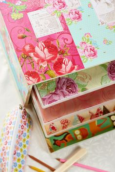Beautify a #storage unit with inspiring #decoupage idea