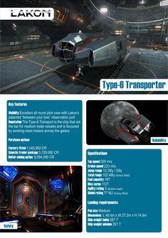 Elite: Dangerous Type-6 Transporter Lakon Spaceways Ships Brochure