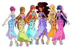 Winx Club Season 6 Egyptian Outfits: Tecna, Flora, Bloom, Aisha, Stella, and Musa.