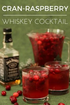 Whiskey Cocktail | Cocktail recipes for a crowd | easy cocktail recipes | whiskey cocktail recipes | whiskey drinks | easy whiskey cocktails | whiskey cocktails recipes | whiskey drinks | whiskey cran raspberry cocktail