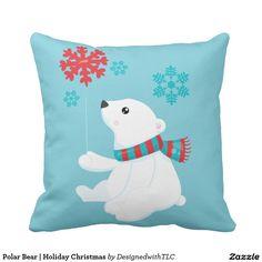 Polar Bear | Holiday Christmas Throw Pillow