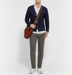 Todd Snyder Textured In Midnight Blue Blue Fashion, Luxury Fashion, Mens Fashion, Todd Snyder, Mr Porter, Wool Cardigan, Midnight Blue, Knitwear, Menswear