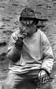 Port Isaac fisherman in black and white