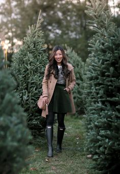 classic winter preppy style // camel wool coat + circle skirt + hunter boots by extra petite