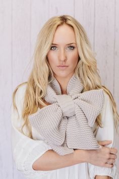 Knitted Bow Scarf Chunky Neck Warmer Vanilla by ThreeBirdNest, $68.00
