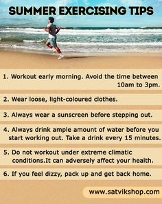 Fitness tips for exercising in the summer time! Start Working Out, Health And Fitness Tips, Excercise, You Can Do, Fun Workouts, Yoga Poses, Summer Time, Infographic, Healthy Living