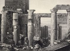 Acropolis daguerreotype, 1839; Engraving of one of the three earliest known photographs of Greece;  Gaspard-Pierre-Gustave Joly de Lotbinière.