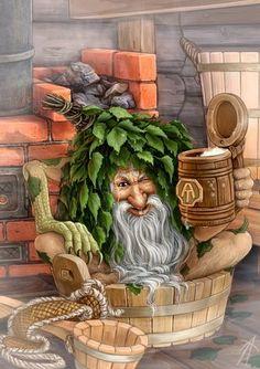 Bannik, zwabber living behind the heather or under the shelf Fantasy Kunst, Fantasy Art, Celtic Tree Of Life, Vintage Christmas Images, All Nature, Russian Art, Magical Creatures, Faeries, Mythology